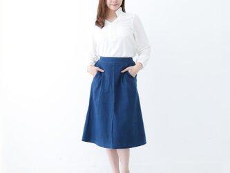 『 Tomo 』 コットン100% 手織り インディゴ染め Aライン スカートの画像