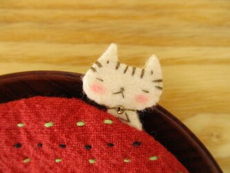 ひょっこり猫のリバーシブル コースター(赤)の画像