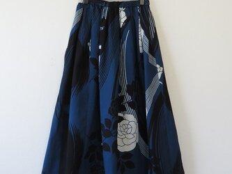 *浴衣リメイク*薔薇模様浴衣のスカート(夏裏地付き)の画像