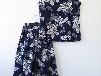 *アンティーク浴衣*紫陽花模様浴衣のセットアップ(Lサイズ・夏裏地つき)の画像