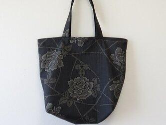 W様ご予約品*アンティーク着物*薔薇模様泥大島紬のトートバッグの画像
