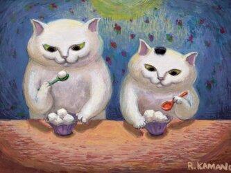 カマノレイコ オリジナル猫ポストカード「牛乳寒天」2枚セットの画像