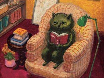 カマノレイコ オリジナル猫ポストカード「読書」2枚セットの画像