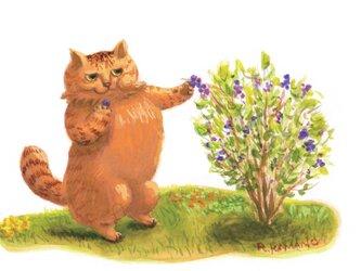 カマノレイコ オリジナル猫ポストカード「ブルーベリー」2枚セットの画像