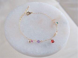 Granatepli bracelet:天然石ブレスレット レッドガーネット×ルビー×アメジスト×ルビー×オプシディアンの画像