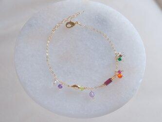 ávexti bracelet:天然石ブレスレット レッドガーネット×ルビー×アメジスト×ルビー×オプシディアンの画像