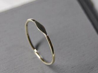 鏡面 K10ゴールドワンポイント槌目プレーンリング 1.0mm幅 ミラー|K10YG RING|546の画像