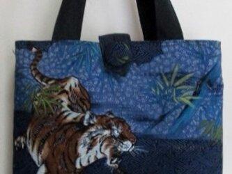 5748  藍大島紬と長襦袢で作った手提げ袋 #送料無料の画像
