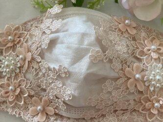 不織布が見えるマスクカバーピンクマーガレット刺繡フラワーパールレース抗菌クレンゼ2waの画像