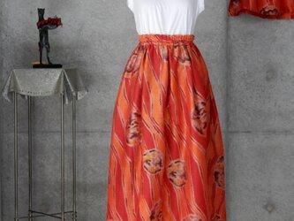 着物リメイク 銘仙のスカート/フリーサイズ 裏地付きの画像