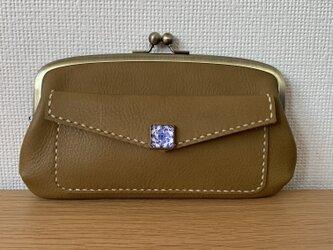 【送料無料】外ポッケが付いた、本革ぺたんこ親子がまぐち長財布の画像