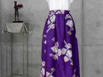 着物リメイク 銘仙のスカート/裏地付き 細身サイズの画像