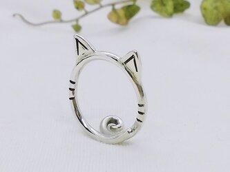 【一点物・フリーサイズ】猫耳リング(シルバー)の画像