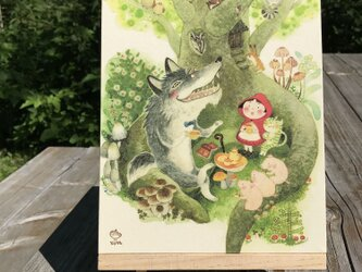 「オオカミの話」 24x18cm パネルの画像