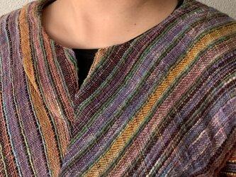前でも後でも楽しめる後ろベルト付き手織り綿ベスト さりげなくバックテールも嬉しい 紫からし絣の画像