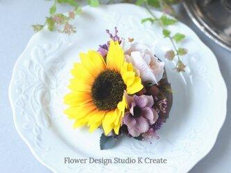 向日葵とコスモスと薔薇のヘアクリップ 浴衣髪飾り ブラウン オガンジー リボンの画像