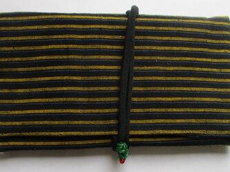 5753 唐桟縞の着物で作った和風財布・ポーチ #送料無料の画像