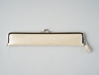 <オーダーメイド>上質レザーのスマートな扇子入れ アイボリーのカーフ(子牛革)リザード型押し×アンティーク着物の画像