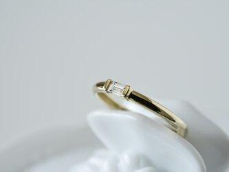 14K バゲットカット・天然ダイヤモンドリングの画像