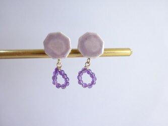 八角のロング ピアス/イヤリング(紫)の画像
