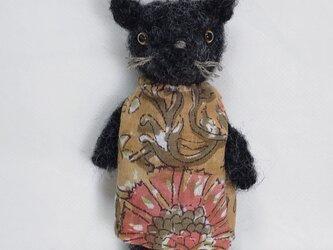 おしゃれな黒ネコさん(あみぐるみ)の画像