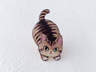 子猫のブローチ(キジトラ)の画像