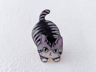 子猫のブローチ(サバトラ)の画像
