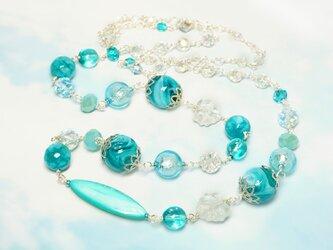マーブルガラスのロングネックレス*ブルーの画像