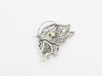 シルバーと白蝶貝のブローチ「胡蝶」【hbr13】の画像