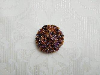#115 刺繍ブローチ  ブラウン&パープルの画像