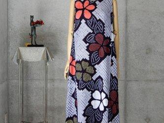 着物リメイク 有松絞りのロングワンピ/ Mの画像