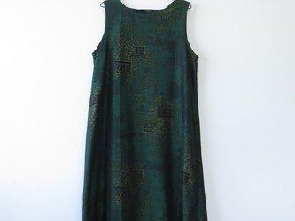 M様ご予約品*アンティーク着物*葉模様手織り真綿紬のワンピース(Lサイズ)の画像