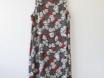 *アンティーク着物*花模様絞り着物のワンピース(Lサイズ)の画像