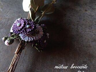 小さなつまみ細工 ポニーフック aster garden  (violet)の画像