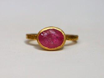 古代スタイル*天然ルビー 指輪*7号 GPの画像
