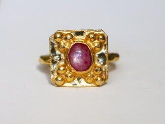 古代スタイル*天然スタールビー 指輪*9号 GPの画像
