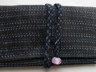 5761 男絣の着物で作った和風財布・ポーチ #送料無料の画像