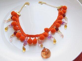ボンボンブレードネックレス橙の画像