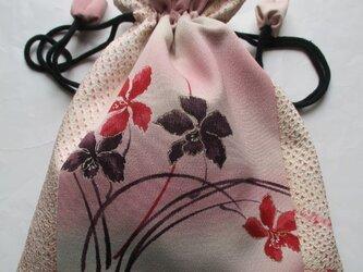5763 絞りと花柄の着物で作った巾着袋 #送料無料の画像