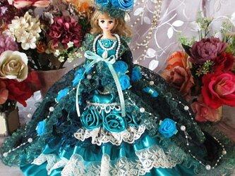 オーシャンターコイズ翡翠の王妃 マーメイドガウントレーン2Wayドレス 豪華3点セットの画像