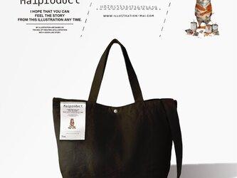 「トラになりたいネコ」 ロゴ ショルダートートバッグ ブラック【ネーム入れ無料】の画像