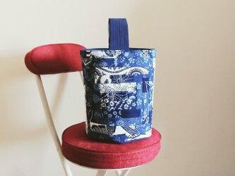 古布で作ったバケツトートバッグ#藍染め#襤褸の画像