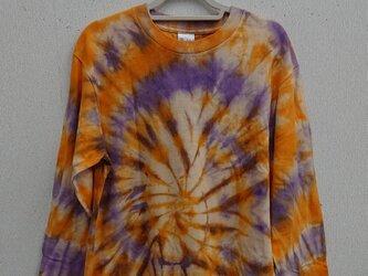 タイダイ染め オレンジとパープルのサークルもようTシャツ(長袖)の画像