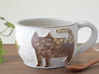 ハチワレネコのレリーフマグカップ(水色) 沖縄のやちむんの画像