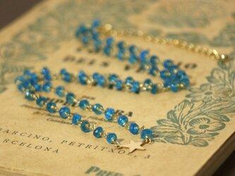 宝石質AAA*14kgf天然石ブルーアパタイト ネックレス クリスマス 誕生日 プレゼント 結婚式 ブライダル  ウエディングの画像