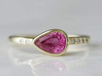 K10製 サファイアとダイヤモンドのリングの画像