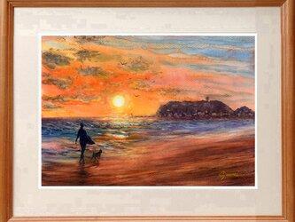 水彩画原画 渚の夕陽 #466の画像