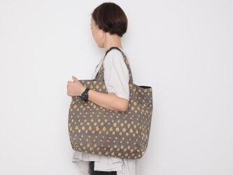 Hand block print kinchaku bag / tsubuの画像