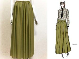 【1点もの・デザイン画付き】天竺ニット抹茶色シャーリングスカート(KOJI TOYODA)の画像