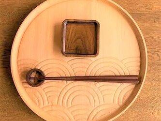 【☆人気です】ラウンド トレイ - 青海波 -seigaiha round tray トガの木の画像